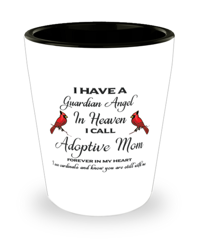 Adoptive Mom Memorial Cardinal Shot Glass Guardian Angel Remembrance Sympathy Shotglass