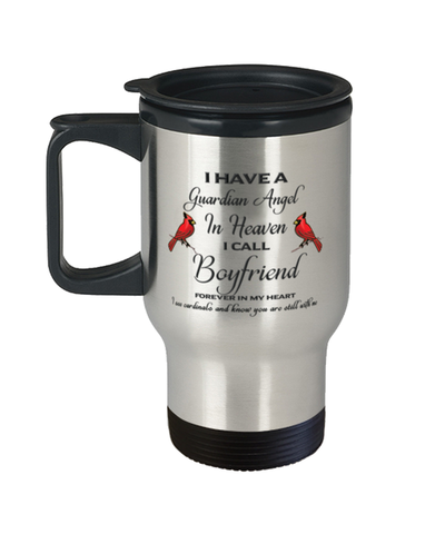 Image of Boyfriend Memorial Cardinal Travel Mug Guardian Angel Remembrance Sympathy Cup
