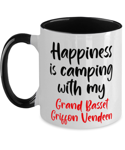 Image of Grand Basset Griffon Vendeen Mug Happiness is Camping With My Dog  Two-Toned Coffee Cup