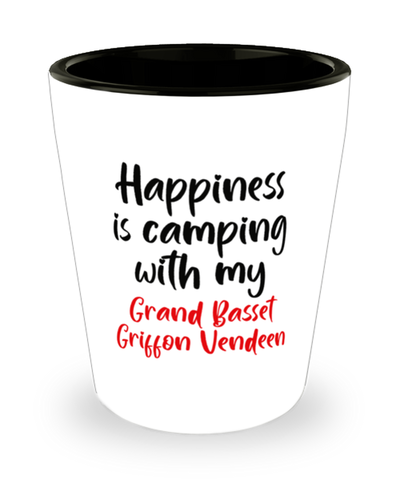 Grand Basset Griffon Vendeen Shot Glass Happiness is Camping With My Dog ShotGlass