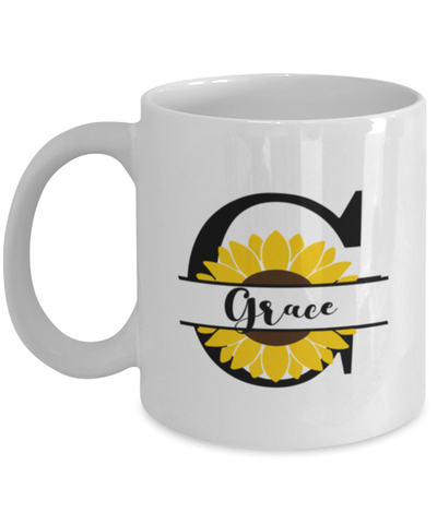 Image of Grace Sunflower Mug Personalized 11 oz Coffee Cup for Home or Work