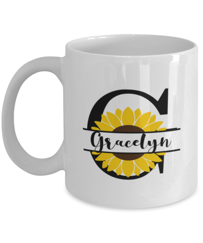 Gracelyn Sunflower Mug Personalized 11 oz Coffee Cup for Home or Work