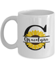 Gracelynn Sunflower Mug Personalized 11 oz Coffee Cup for Home or Work