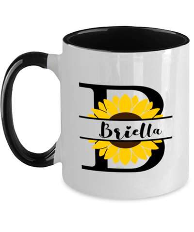Image of Briella Sunflower Mug Personalized 11 oz Two-Toned Coffee Cup for Home or Work