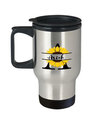 Image of Ariah Sunflower Travel Mug Personalized 14 oz Cup gift for Home or Work
