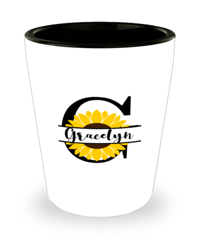 Gracelyn Sunflower Shot Glass Personalized Shotglass