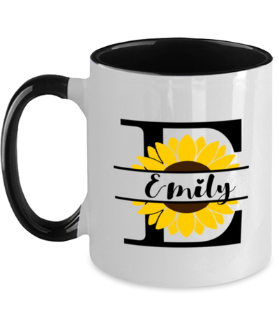 Emily Sunflower Mug Personalized 11 oz Two-Toned Coffee Cup for Home or Work