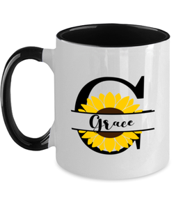 Grace Sunflower Mug Personalized 11 oz Two-Toned Coffee Cup for Home or Work