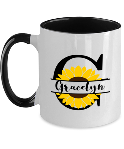Gracelyn Sunflower Mug Personalized 11 oz Two-Toned Coffee Cup for Home or Work