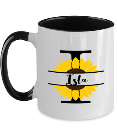 Isla Sunflower Mug Personalized 11 oz Two-Toned Coffee Cup for Home or Work