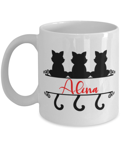Alina Cat Lady Mug Personalized Funny Feline Mom Coffee Cup