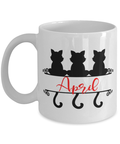 April Cat Lady Mug Personalized Funny Feline Mom Coffee Cup