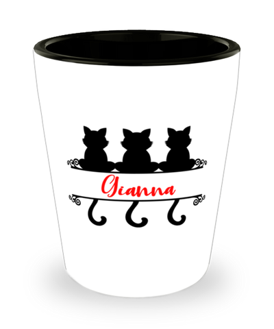 Gianna Cat Lady Shot Glass Personalized Feline Mom ShotGlass