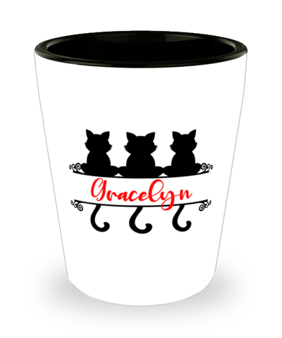 Gracelyn Cat Lady Shot Glass Personalized Feline Mom ShotGlass