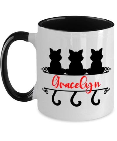 Gracelyn Cat Lady Mug Personalized Feline Mom Two-Toned Coffee Cup
