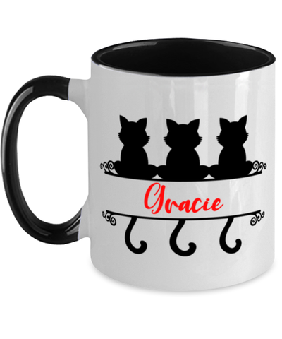 Image of Gracie Cat Lady Mug Personalized Feline Mom Two-Toned Coffee Cup