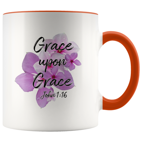 Image of Grace Upon Grace John 1:16 Mug Faith Gift Scripture Bible Verse Accent Coffee Mug Gifts