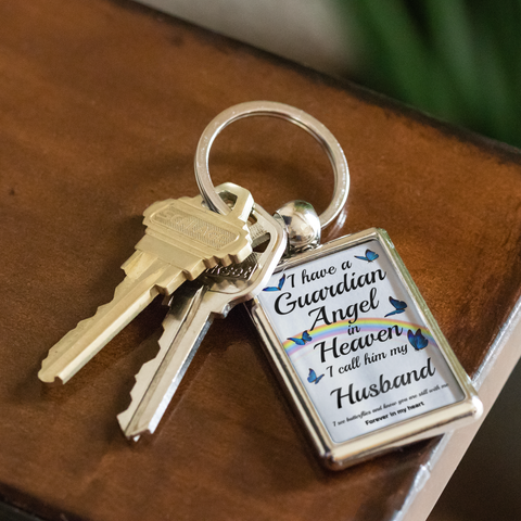 Husband In Memorial Butterfly Remembrance Gift Key Chain I Have a Guardian Angel in Heaven In Loving Memory Key Ring Keychain
