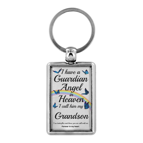 Grandson In Memorial Butterfly Remembrance Gift Key Chain I Have a Guardian Angel in Heaven In Loving Memory Key Ring Keychain