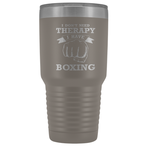 I Don't Need Therapy I Have Boxing Pugilist Insulated Polar Camel Laser Etched Tumbler With Lid Gift for Boxer Fighter Hobby Men Women Novelty Birthday 30 oz Hot/Cold Cup