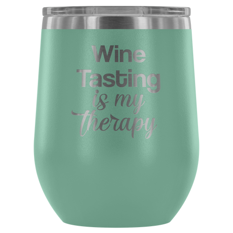 Wine Tasting IS My Therapy 12oz Insulated Polar Camel Tumbler Gift Mug