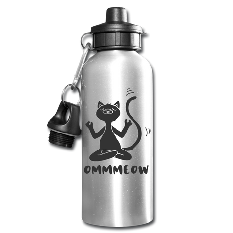 Funny Cat Ommmeow Yoga Water Bottle Meditation Novelty To Go Container - silver
