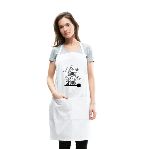 Life is Short Lick The Spoon Funny Adjustable Apron - white