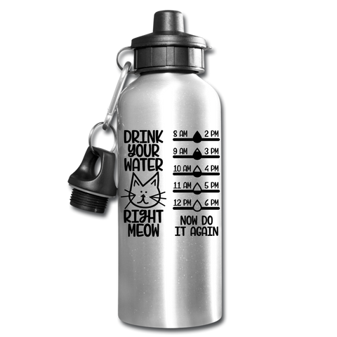 Funny Cat Water Bottle Gift Drink Right Meow And Do It Again Drink Tracker - silver