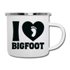 I Love Bigfoot Camping Coffee Mug Novelty Sasquatch Hunting 12 oz Camper Cup - white