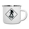 Bigfoot Crossing Camping Coffee Mug Novelty Sasquatch Hunting 12 oz Camper Cup - white