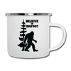 Bigfoot Believe Camping Coffee Mug Novelty Sasquatch Hunting 12 oz Camper Cup - white