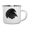 Raven Lover Camping Coffee Mug Black Bird Crow Novelty 12 oz Camper Cup - white