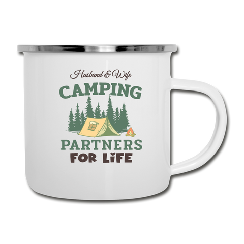 Husband & Wife Camping Partners Camper Mug Gift - white