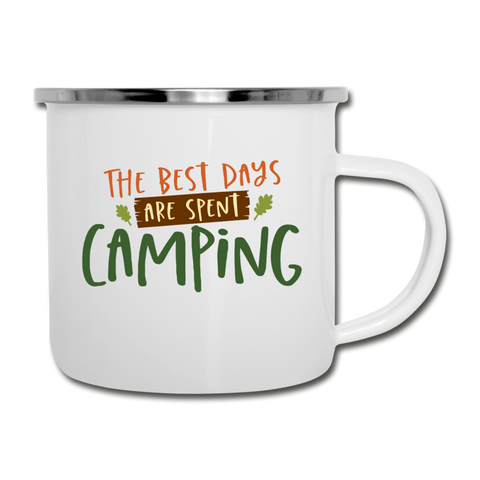 The Best Days Are Spent Camping Mug Camper Outdoor Adventure Coffee Cup - white