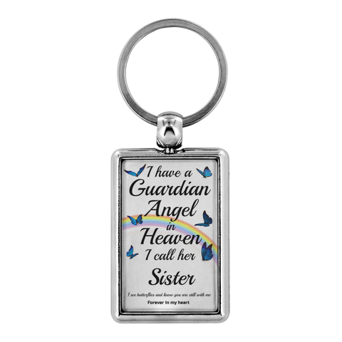 Image of Sister In Memorial Butterfly Remembrance Gift Key Chain I Have a Guardian Angel in Heaven In Loving Memory Key Ring Keychain