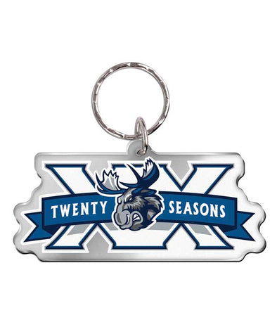 MOOSE 20TH METALLIC ACRYLIC KEYCHAIN