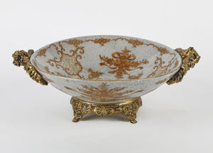 Glass Bowl with Gold Sidings and Base