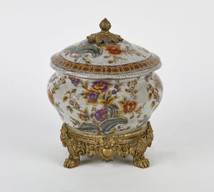 Large Ceramic Centerpiece with Lid and Gold Base
