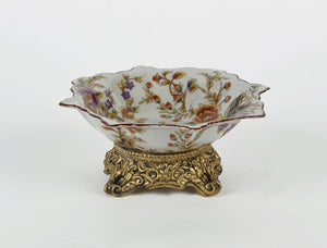 Ceramic Candy Dish with Gold Base
