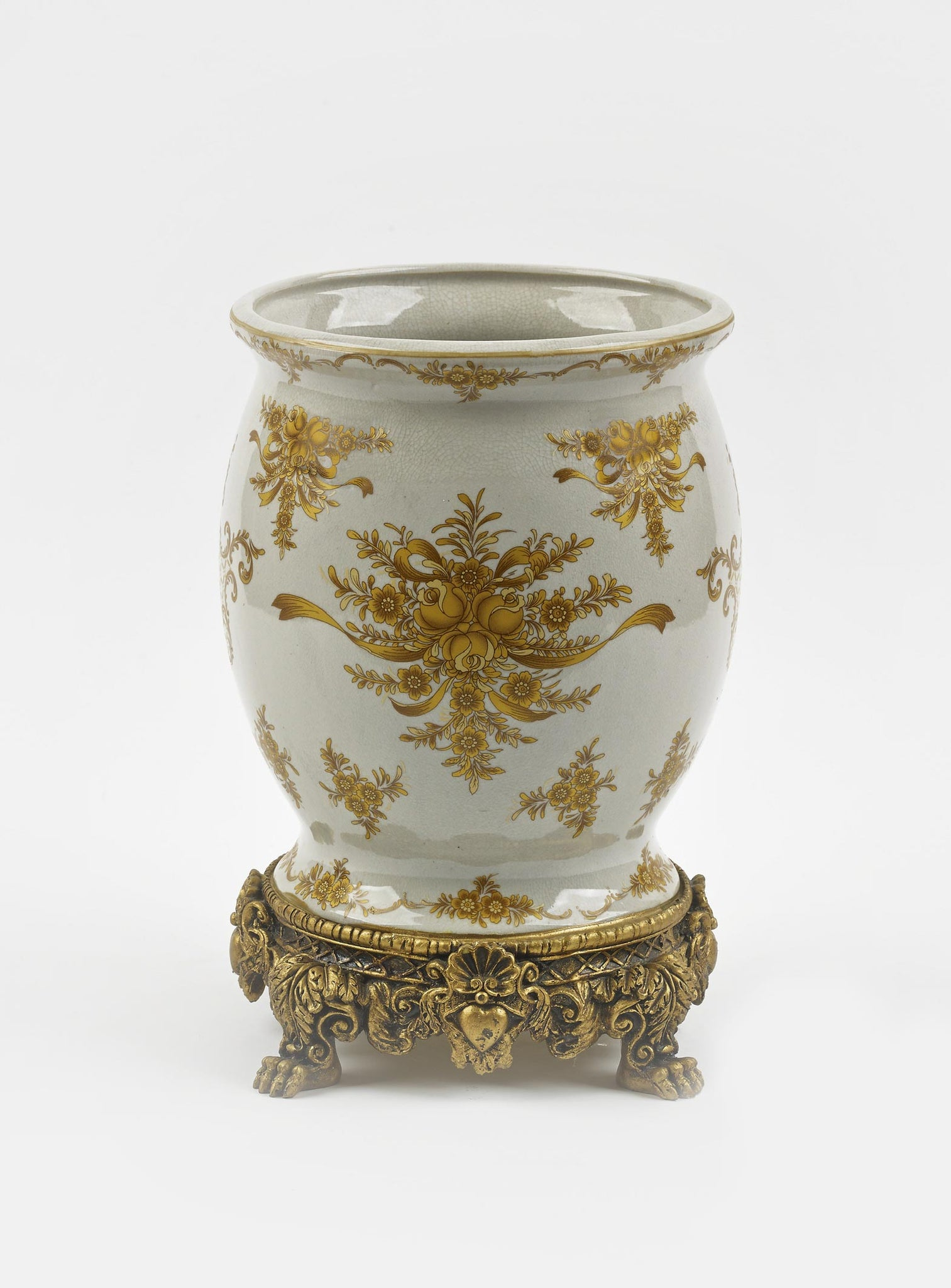 Ceramic Vase with Yellow Flower Design and Gold Base