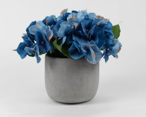 Blue Hydrangea with Stone Colored Pot