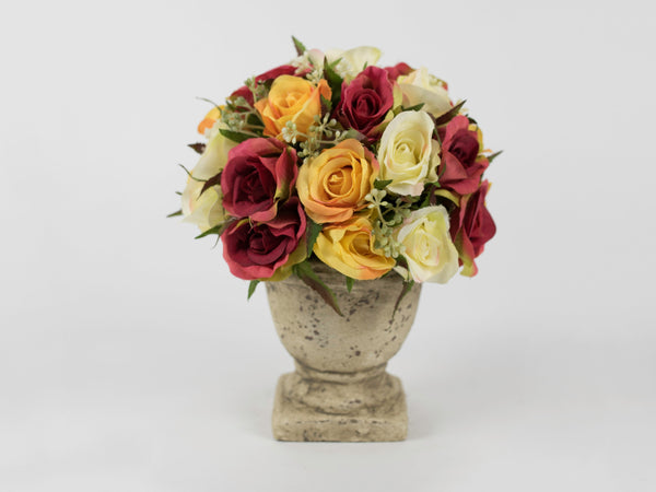 Assorted Roses with Antique Pot