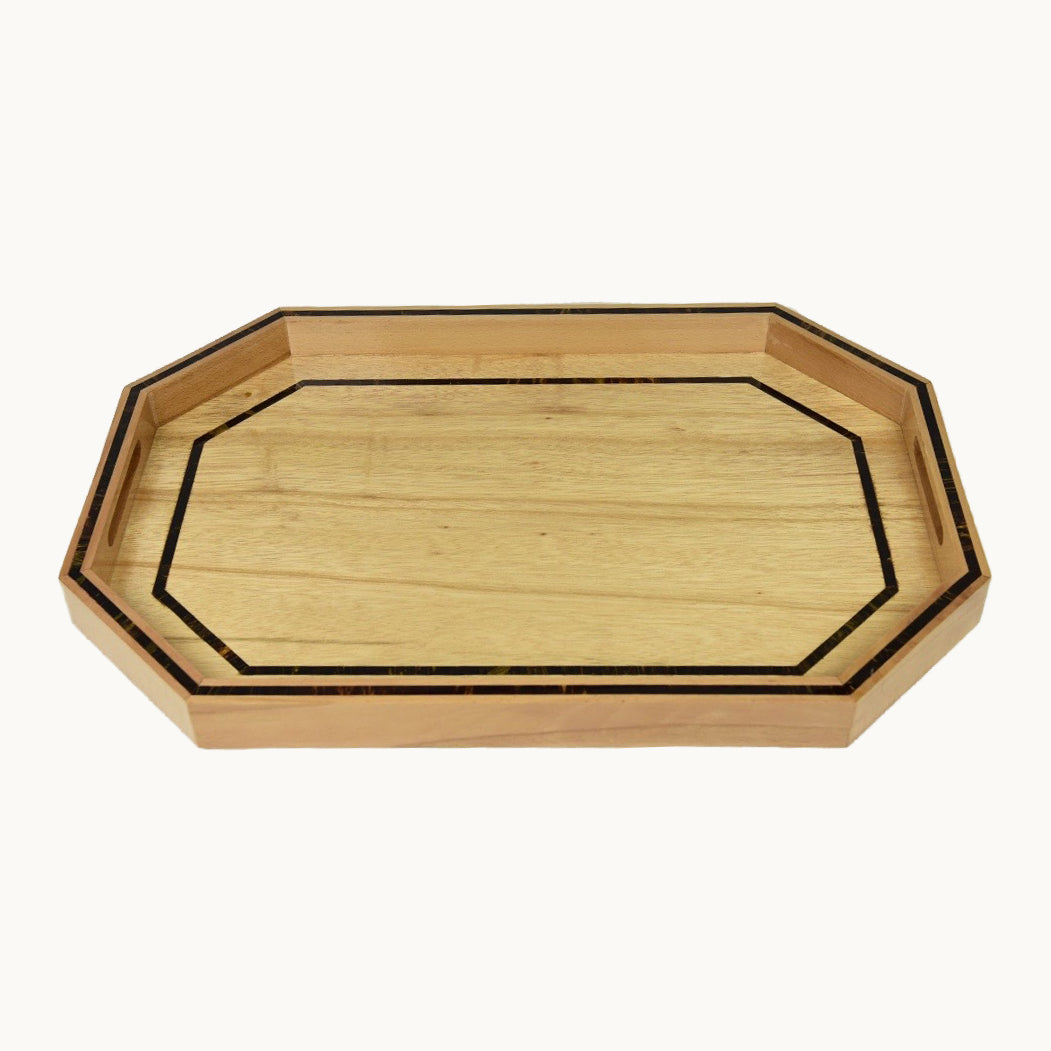 Large Hexagon Wooden Tray