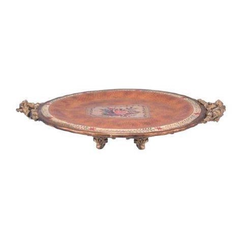 ROUND ORANGE TRAY WITH HANDLES