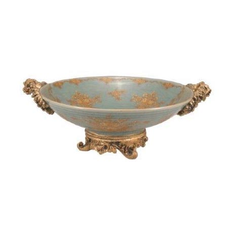 ROUND GREEN FLORAL FRUIT BOWL