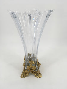 Glass Vase with Gold Base