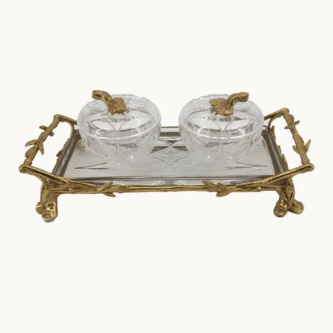 2 BRASS AND CRYSTAL CANDY DISHES W/ TRAY