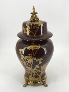 Brown and Gold Vase with Lid and Gold Base