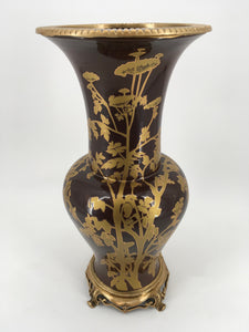 Brown and Gold Vase with Gold Base