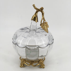 LARGE CRYSTAL AND BRASS APPLE
